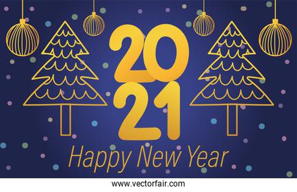happy new year 2021, gold numbers trees and hanging balls