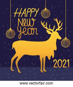 happy new year 2021, gold deer balls and inscription card