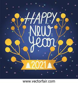 happy new year 2021, gold holly berry letters celebration