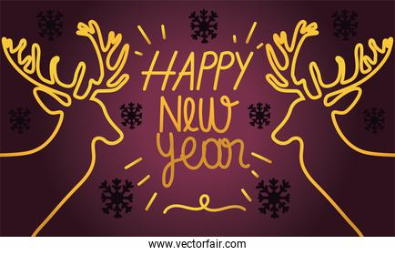 happy new year 2021, gold linear reindeer and lettering card