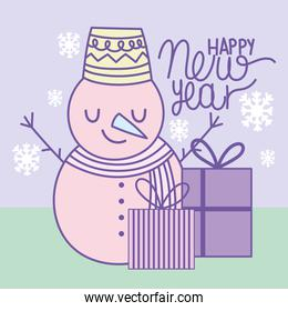 happy new year 2021, cartoon snowman and gift boxes with snowflakes decoration