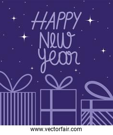 happy new year 2021, purple gift boxes and lettering stars decoration