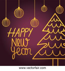 happy new year 2021, gold hanging balls and pine tree decoration card