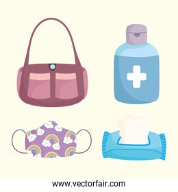 new normal, medical mask tissue paper alcohol and bag icons