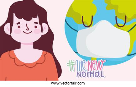 new normal lifestyle, cartoon woman and world with mask