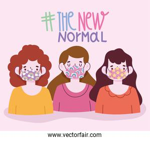 new normal lifestyle, group the girls with funny protective masks