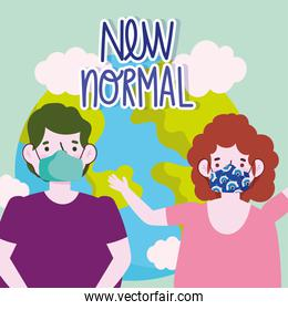 new normal lifestyle, couple with protective masks and world