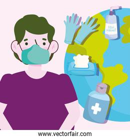 new normal lifestyle, young man with protective mask gel and world