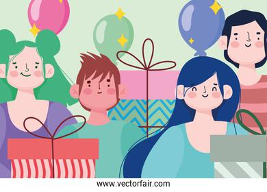 young group people gift boxes and balloons celebration festive