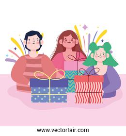 cartoon man and women with gift boxes celebration