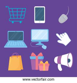 cyber monday, computer mobile megaphone bag cart gifts icons