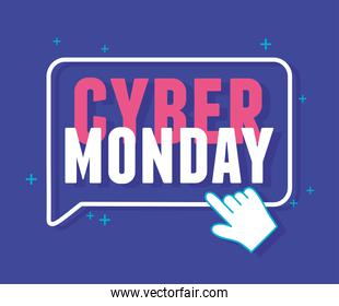 cyber monday, clicking lettering announce blue background
