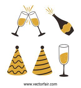 happy new year, party hats champagne bottle and cups icons