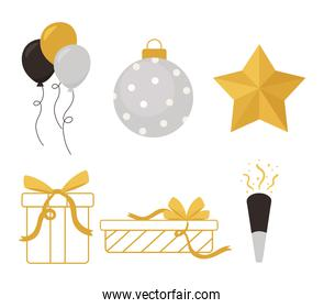 happy new year, star ball gifts balloons and confetti icons