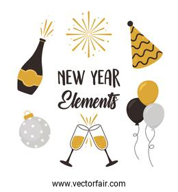 happy new year, champagne bottle cups ball balloons hat elements icons