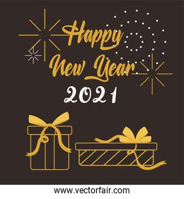 happy new year 2021, gold lettering and gift boxes dark background