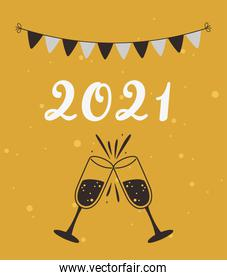 happy new year 2021, toast glasses and pennants decoration card