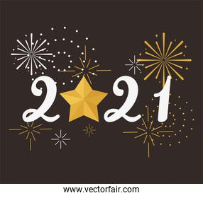 happy new year 2021, number with star and fireworks card