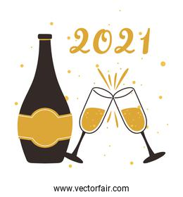 happy new year 2021, champagne bottle and cups celebration