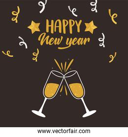 happy new year, champagne toast confetti lettering card
