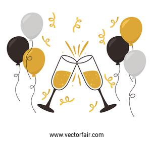 happy new year, champagne toast balloons confetti decoration and celebration