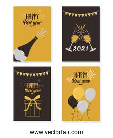 happy new year 2021, celebration party gift balloons champagne banners