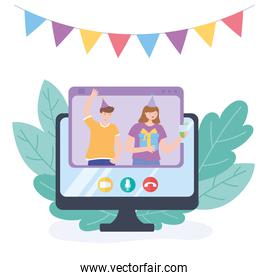 online party, couple with gift and drink celebrating in video call