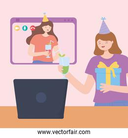 online party, young women celebrating birthday with gift and drink with laptop