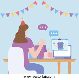 online party, woman and man talking by computer celebration birthday
