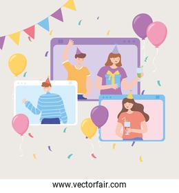 online party, people website ceebration event with decoration