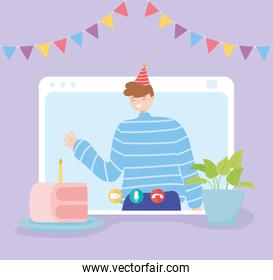 online party, happy man in video call celebrating birthday with cake