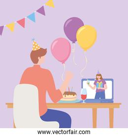 online party, man connected by internet with woman celebration with cake