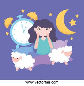 insomnia, worried girl in the bed with sheeps and clock
