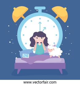 insomnia, sad girl in the bed with mobile sheep and big clock background