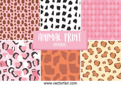 animal skin print pattern, different texture seamless repeating