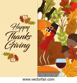 happy thanksgiving day, turkey with hat acorns wine bottle leaves banner