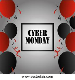 cyber monday, advertising lettering with black and red balloons