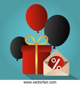 cyber monday, email sale offer gift with balloons