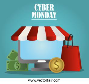 cyber monday, shopping bag computer money coin and bills