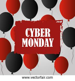 cyber monday, lettering advert with balloons celebration