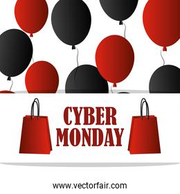 cyber monday, shopping bags lettering balloons background card