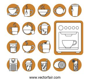tea, herbal kettle product pack leaf cups icons line