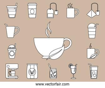 tea icons, contains such as cup of tea, lime, sugar and leaf line