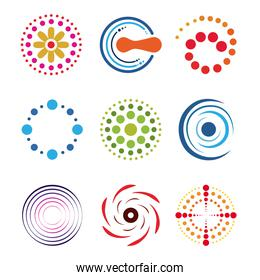 set of dotted shapes flower spiral and round isolated white background