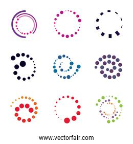 dotted shapes circle spiral collection isolated white background