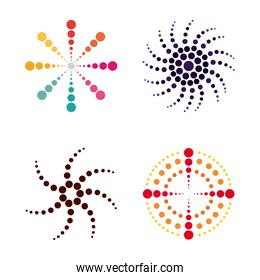 dotted floral swirl abstract icons set isolated white background