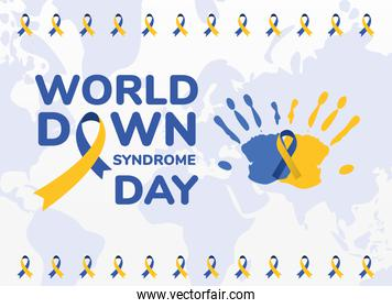 world down syndrome day cartel with  ribbon on hand prints vector design