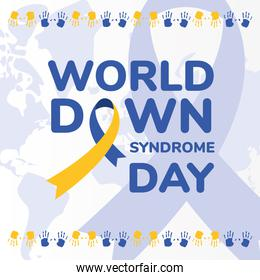 world down syndrome day ribbon and hand prints vector design