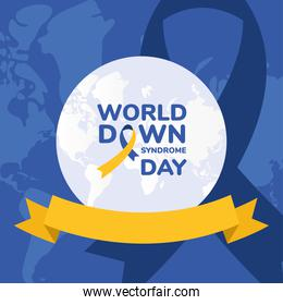 world down syndrome day with ribbon vector design