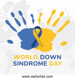 world down syndrome day ribbon on hand prints vector design
